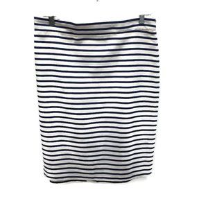 J. Crew White and Navy Striped Skirt